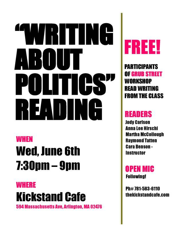 Kickstand Writing Abt Politics Flyer JUNE 6